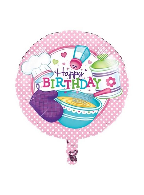 Balão Bexiga Metalizada Happy Birthday Chef de Cozinha – 1 unidade