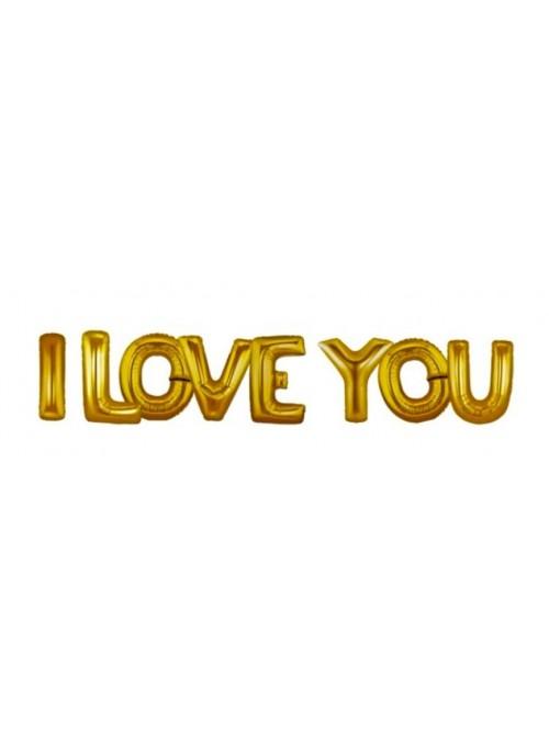 Balões Bexigas Metalizadas I Love You Dourado - 1 Kit