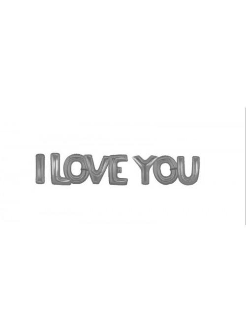 Balões Bexigas Metalizadas I Love You Prata - 1 Kit