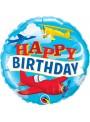 Balão Bexiga Metalizada Happy Birthday Avião – 1 unidade