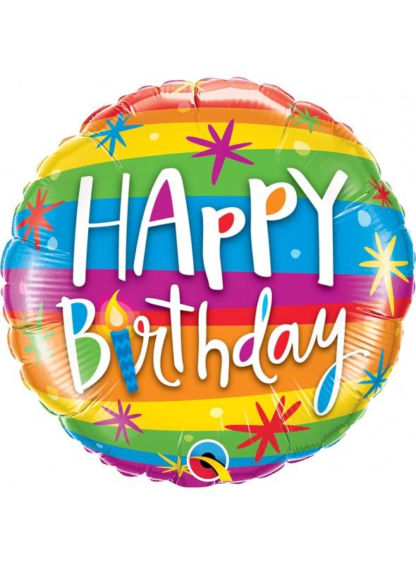 Balão Bexiga Metalizada Aniversário Arco-Íris – 1 unidade