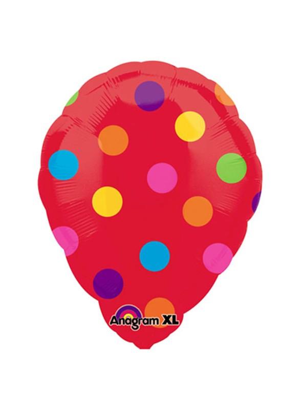 Balão Bexiga Metalizada Ar Quente Bolinhas Vermelho – 1 unidade