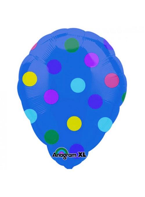 Balão Bexiga Metalizada Ar Quente Bolinhas Azul – 1 unidade