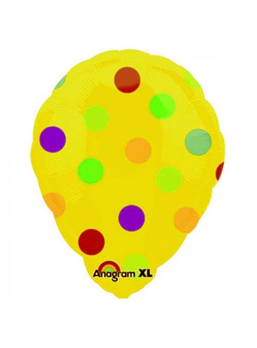 Balão Bexiga Metalizada Ar Quente Bolinhas Amarelo – 1 unidade