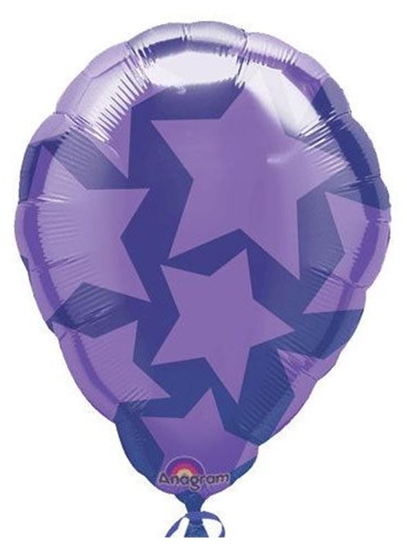 Balão Bexiga Metalizada Ar Quente Estrelas Roxo – 1 unidade