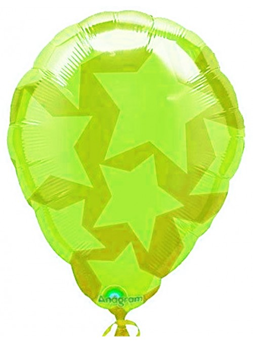 Balão Bexiga Metalizada Ar Quente Estrelas Verde – 1 unidade