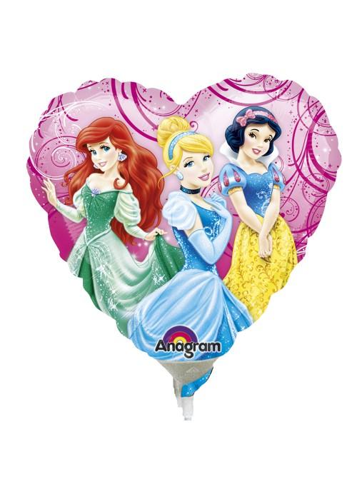 Balão Bexiga Metalizada Coração Princesas Tamanho P – 1 unidade