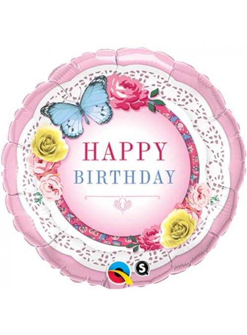 Balão Bexiga Metalizada Aniversário Borboleta e Flores – 1 unidade