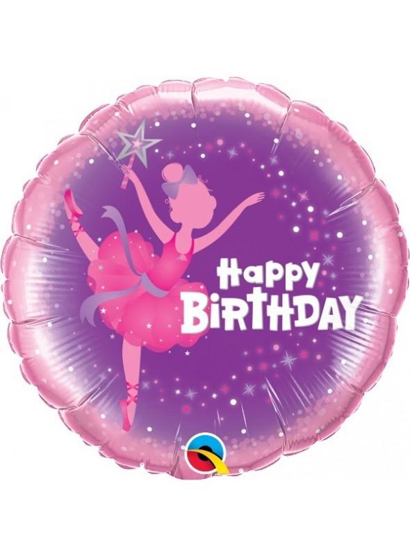Balão Bexiga Metalizada Aniversário Bailarina – 1 unidade