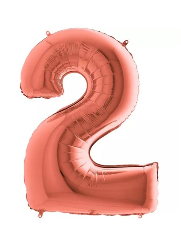 Balão Bexiga Metalizada Número 2 Rose Gold – 1 unidade