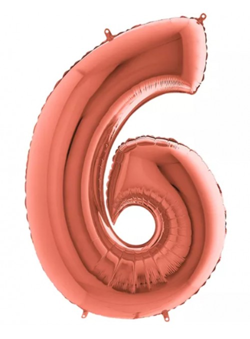 Balão Bexiga Metalizada Número 6 Rose Gold – 1 unidade