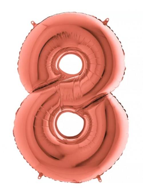 Balão Bexiga Metalizada Número 8 Rose Gold – 1 unidade