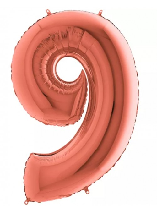Balão Bexiga Metalizada Número 9 Rose Gold – 1 unidade