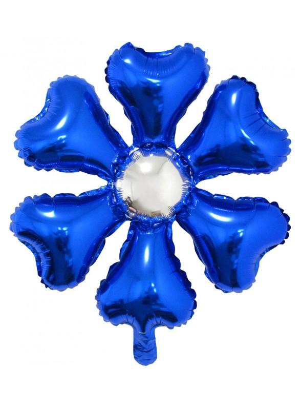 Balão Bexiga Metalizada Flor Azul – 1 unidade