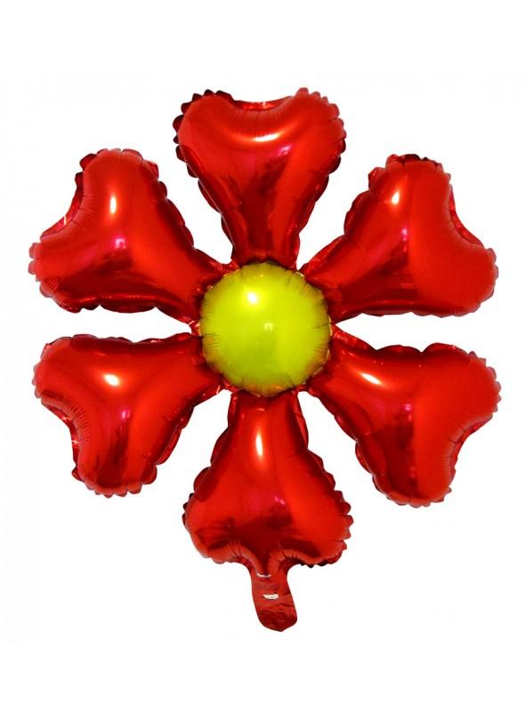 Balão Bexiga Metalizada Flor Vermelha – 1 unidade