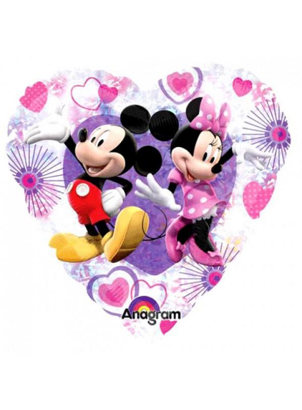 Balão Metalizado Mickey e Minnie Corações Tamanho P – 1 unidade