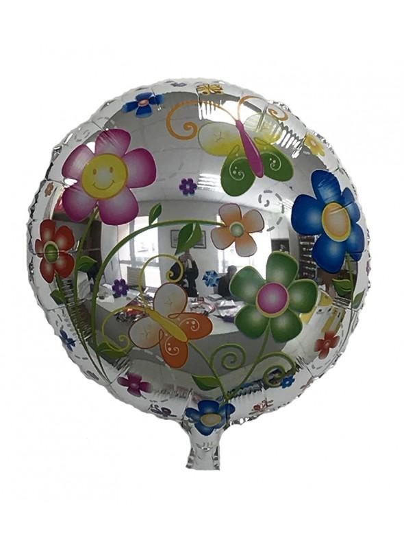 Balão Metalizado Flores e Borboletas – 1 unidade