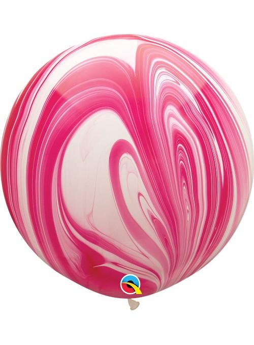 Balão de Látex Gigante Marmorizado Rosa e Branco 30 Polegadas – 1 unidade