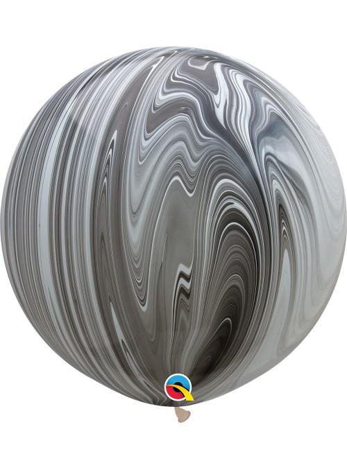 Balão de Látex Gigante Marmorizado Preto e Branco 30 Polegadas – 1 unidade