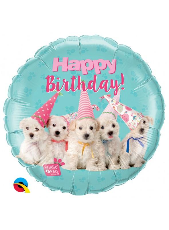 Balão Metalizado Aniversário Cachorros – 1 unidade