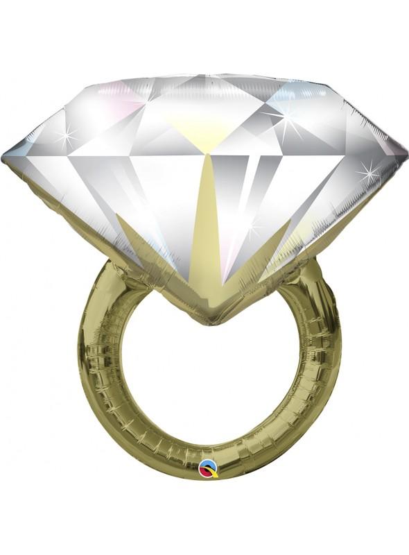 Balão Metalizado Anel de Diamante Casamento Grande – 1 unidade