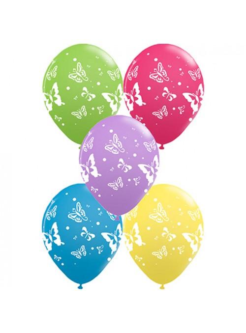 Balões de Látex Borboletas Sortidos – 25 unidades