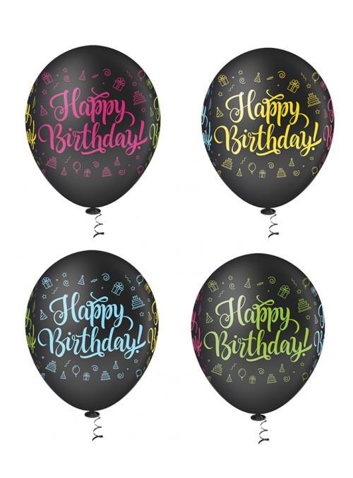 Balões de Látex Aniversário Happy Birthday Preto – 25 unidades