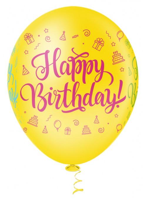 Balões de Látex Aniversário Happy Birthday Colorido – 25 unidades