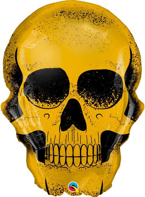 Balão Metalizado Halloween Caveira Dourada – 1 unidade