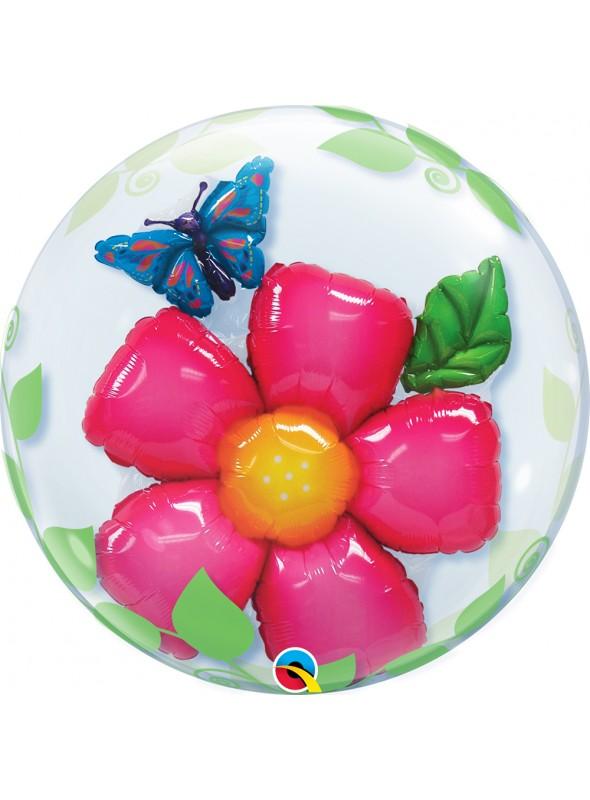 Balão Bubble Transparente Duplo Flor – 1 unidade