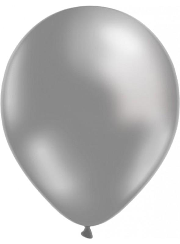 Balões de Látex Metalizados Prata 10 Polegadas – 50 unidades