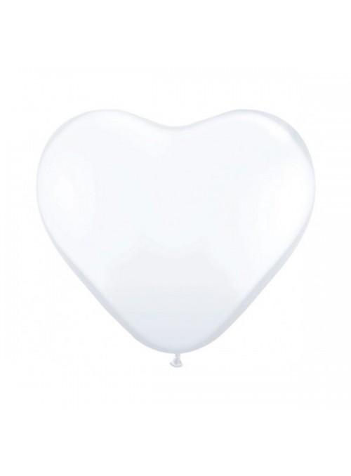 Balões de Látex Coração Branco 6 Polegadas – 50 unidades