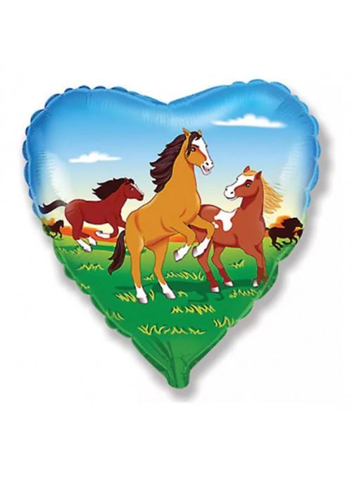 Balão Metalizado Coração Cavalo – 1 unidade