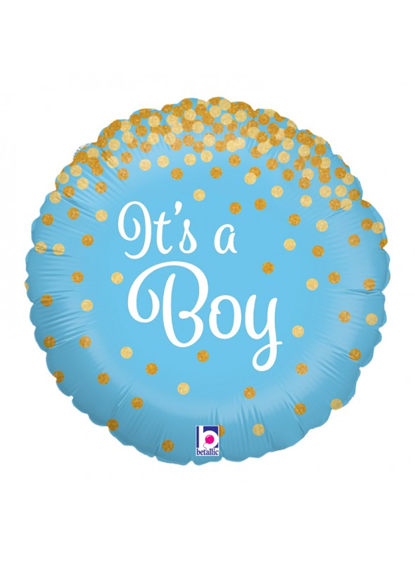 Balão Metalizado É Um Menino Confetes – 1 unidade