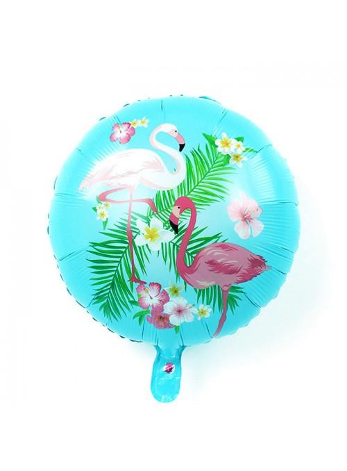 Balão Metalizado Redondo Flamingos Azul – 1 unidade