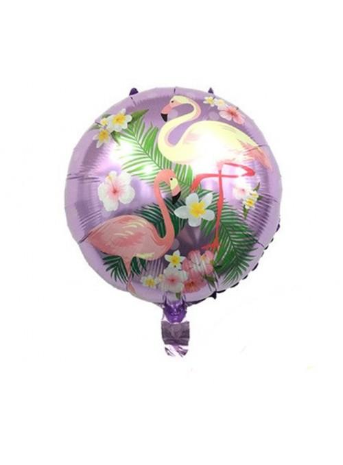 Balão Metalizado Redondo Flamingos Lilás – 1 unidade