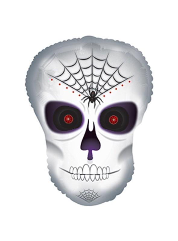 Balão Metalizado Halloween Caveira Assustadora – 1 unidade