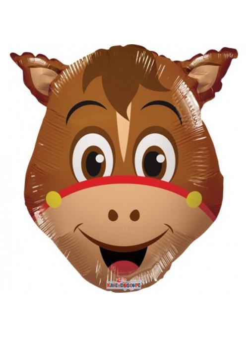 Balão Metalizado Cavalo Marrom Tamanho P Haras – 1 unidade