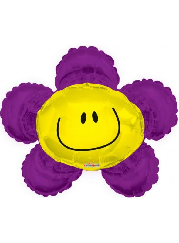 Balão Metalizado Flor Sorridente Roxa – 1 unidade