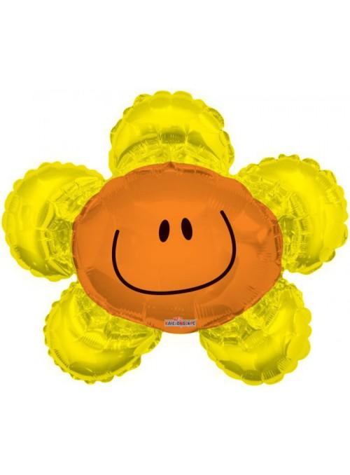Balão Metalizado Flor Sorridente Dourado – 1 unidade