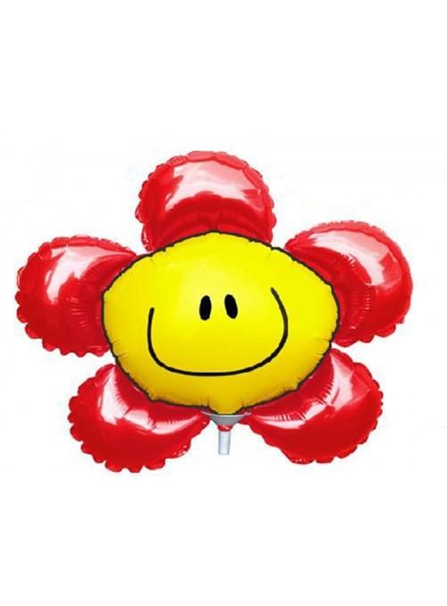 Balão Metalizado Flor Sorridente Vermelho – 1 unidade