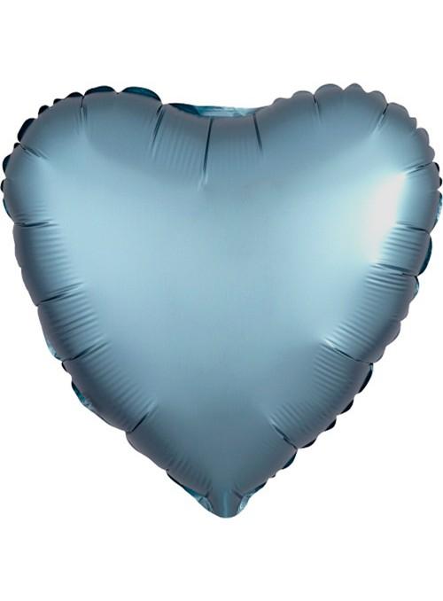 Balão Metalizado Cromado Coração Chrome Azul – 1 unidade