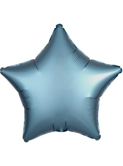 Balão Metalizado Cromado Estrela Chrome Azul – 1 unidade