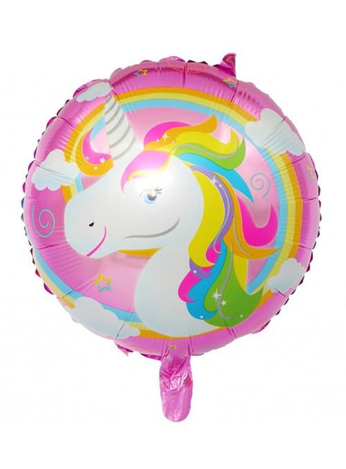 Balão Metalizado Unicórnio Arco Íris Rosa – 1 unidade