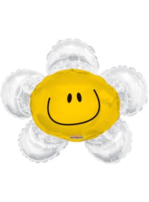 Balão Metalizado Flor Sorridente Branco – 1 unidade