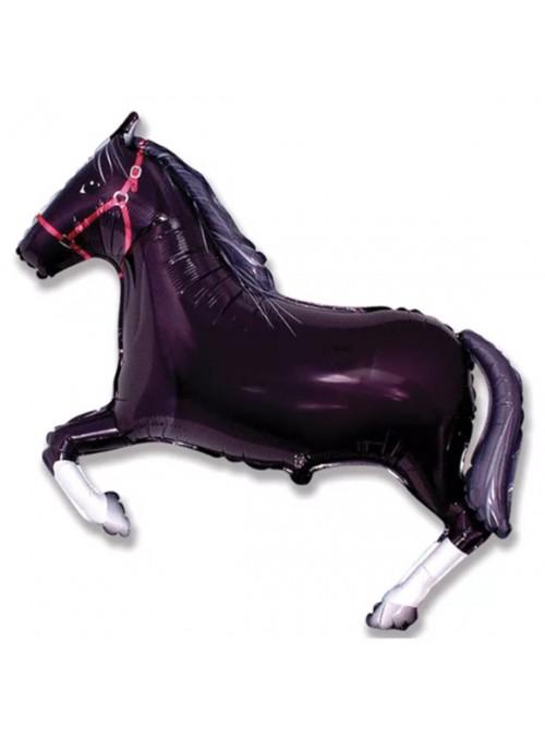 Balão Metalizado Cavalo Preto Haras Tamanho P – 1 unidade