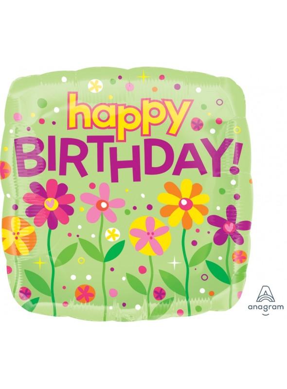 Balão Metalizado Quadrado Aniversário Flores – 1 unidade