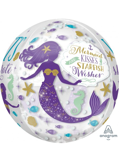 Balão Orbz Transparente Sereia – 1 unidade