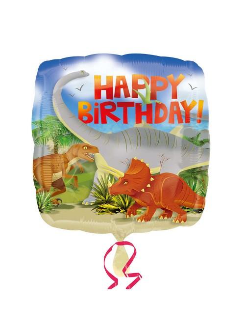 Balão Metalizado Quadrado Dinossauro Aniversário – 1 unidade