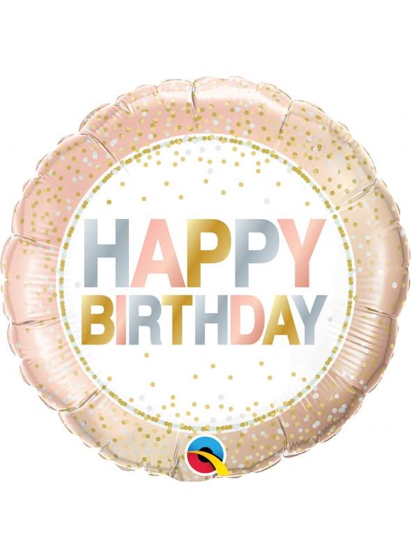 Balão Metalizado Aniversário Rose Gold – 1 unidade